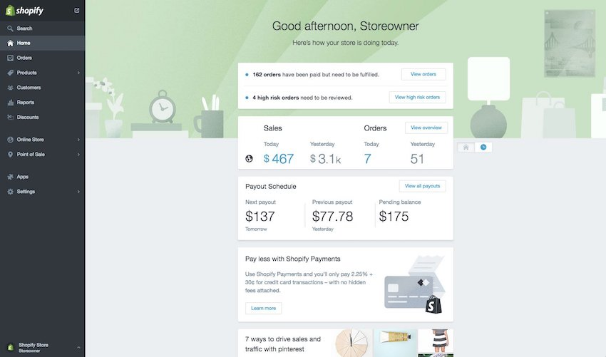 Webpage screenshot example of shopify integrations account dashboard showing home page and store status overview